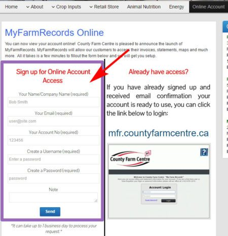 County Farm Centre Online Account Access