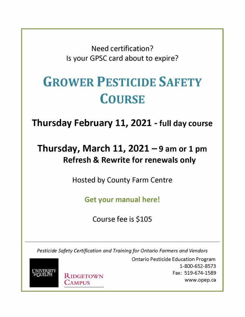 Grower pesticide course - February 2021