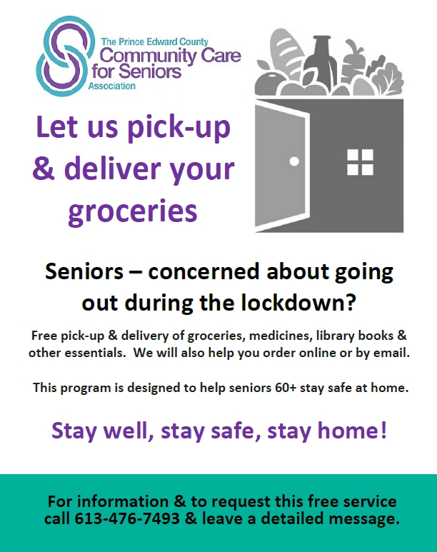 Community Care for Seniors. Let us pick-up & deliver your groceries. 613-476-7493