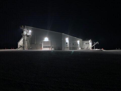 Belleville fertilizer building at night