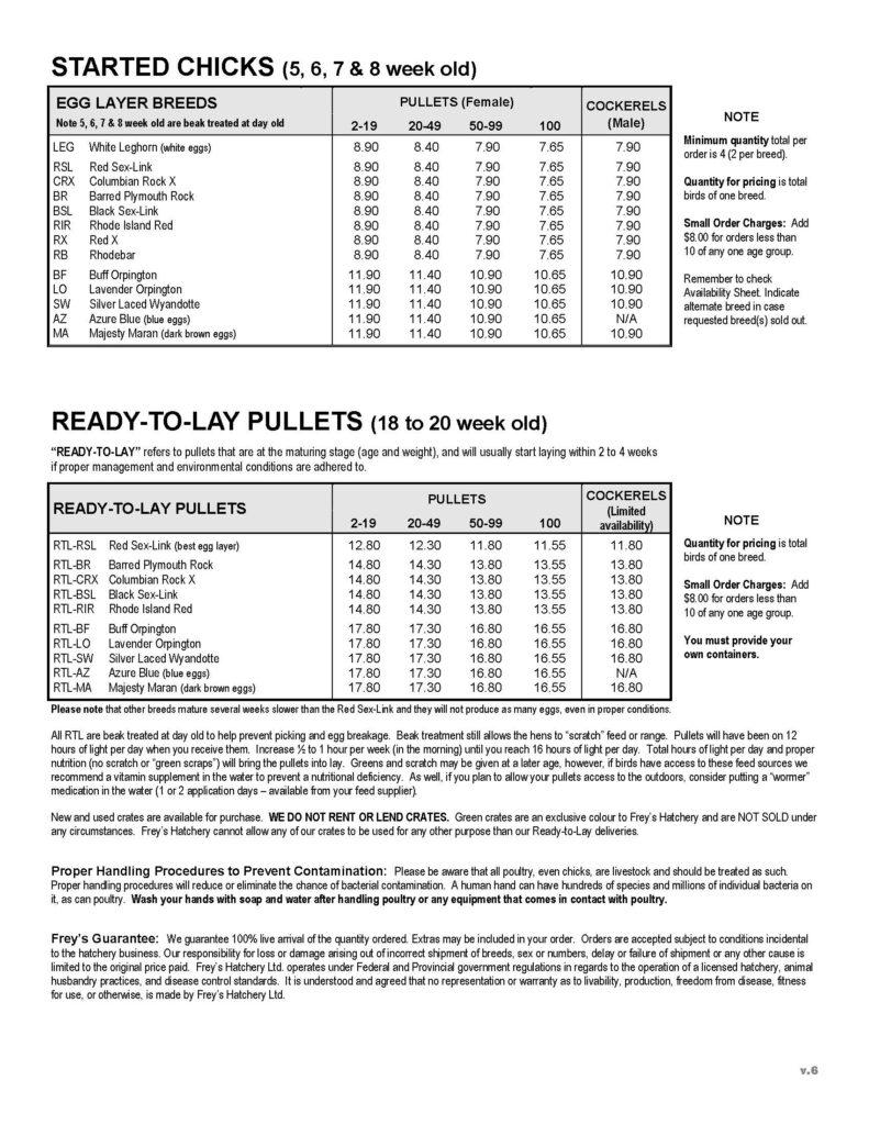 2021 Frey's Price List Pg2